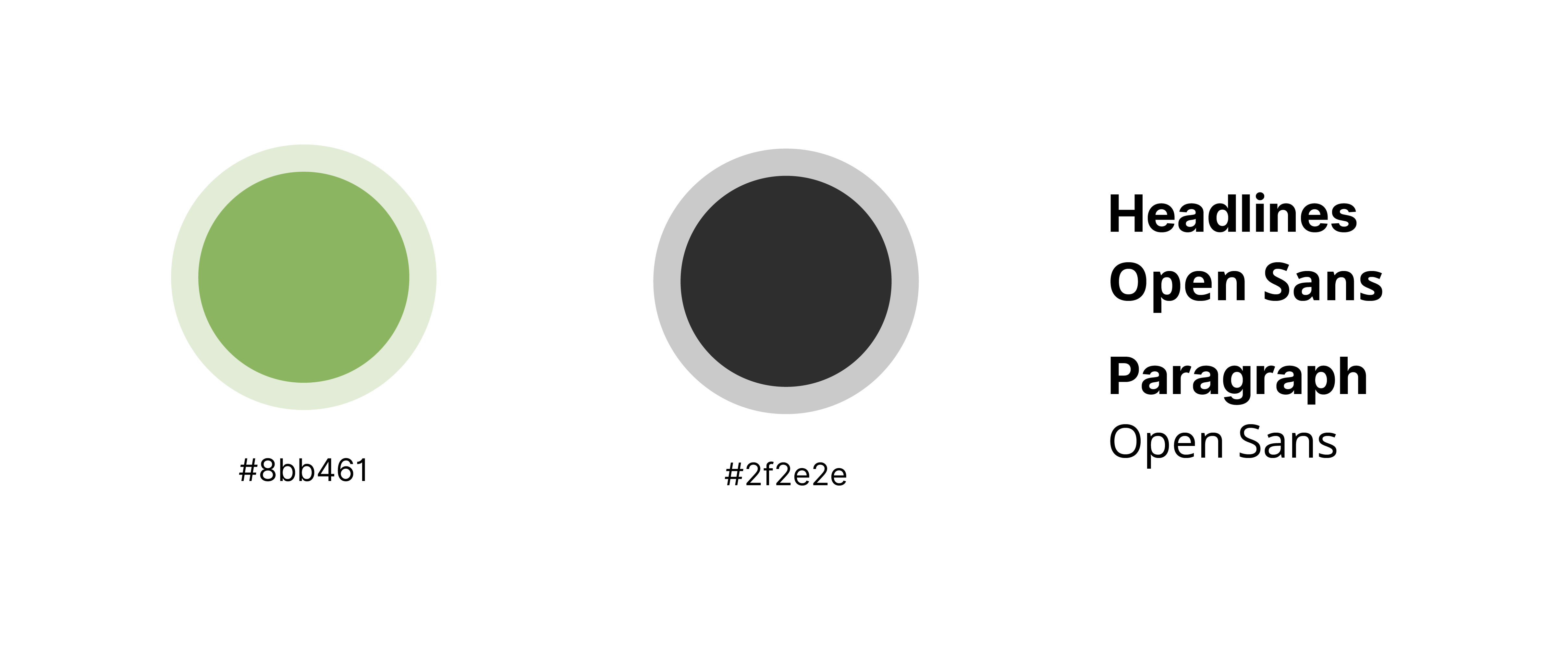 Palette e font del sito Olio il Bucolico